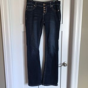 Button front flare jeans long length